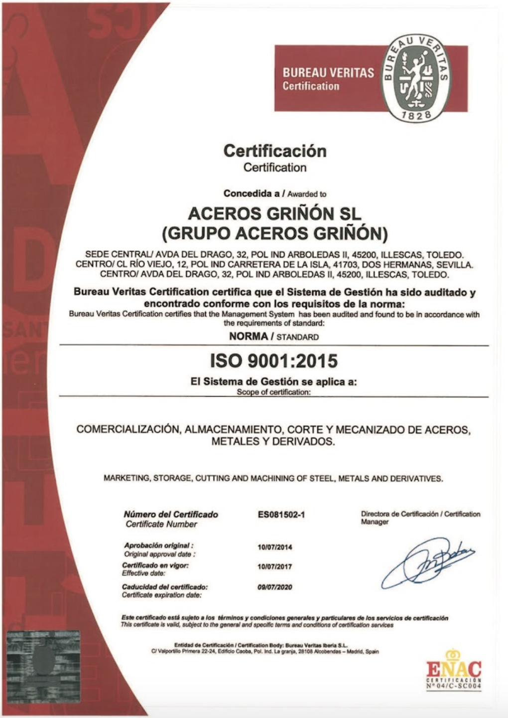 ISO 9001:2015 BUREAU VERITAS Certification
